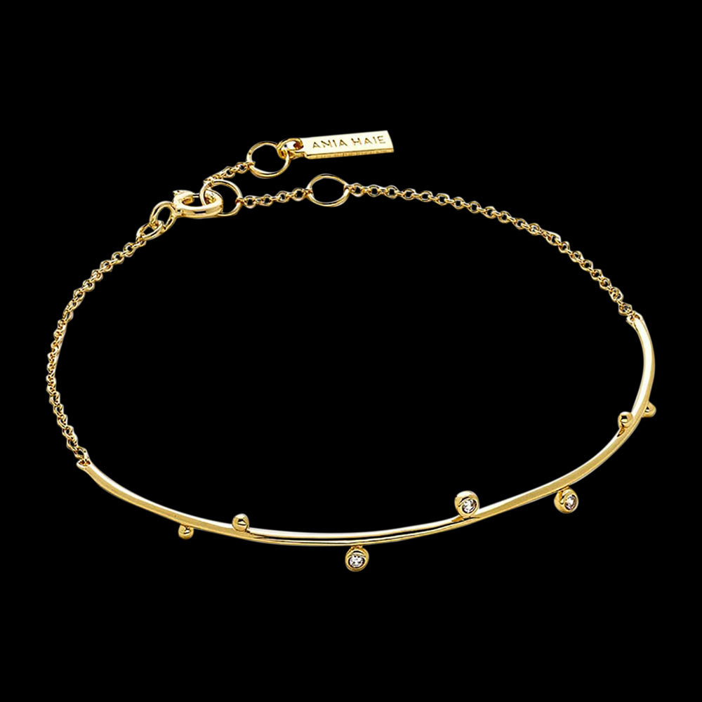 ANIA HAIE TOUCH OF SPARKLE GOLD SHIMMER SOLID BAR STUD BRACELET