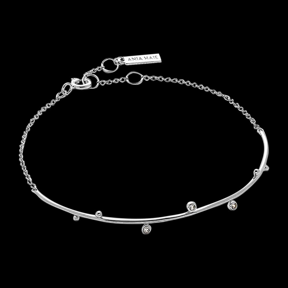 ANIA HAIE TOUCH OF SPARKLE SILVER SHIMMER SOLID BAR STUD BRACELET
