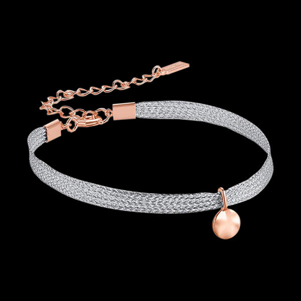 ANIA HAIE TEXTURE MIX SILVER & ROSE GOLD RIPPLE RIBBON BRACELET