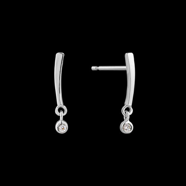 ANIA HAIE TOUCH OF SPARKLE SILVER SHIMMER BAR STUD EARRINGS