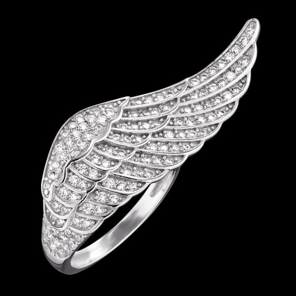 ENGELSRUFER SILVER ADJUSTABLE CRYSTAL WING RING