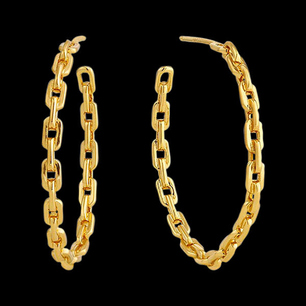 ANIA HAIE LINKS GOLD CHAIN HOOP EARRINGS