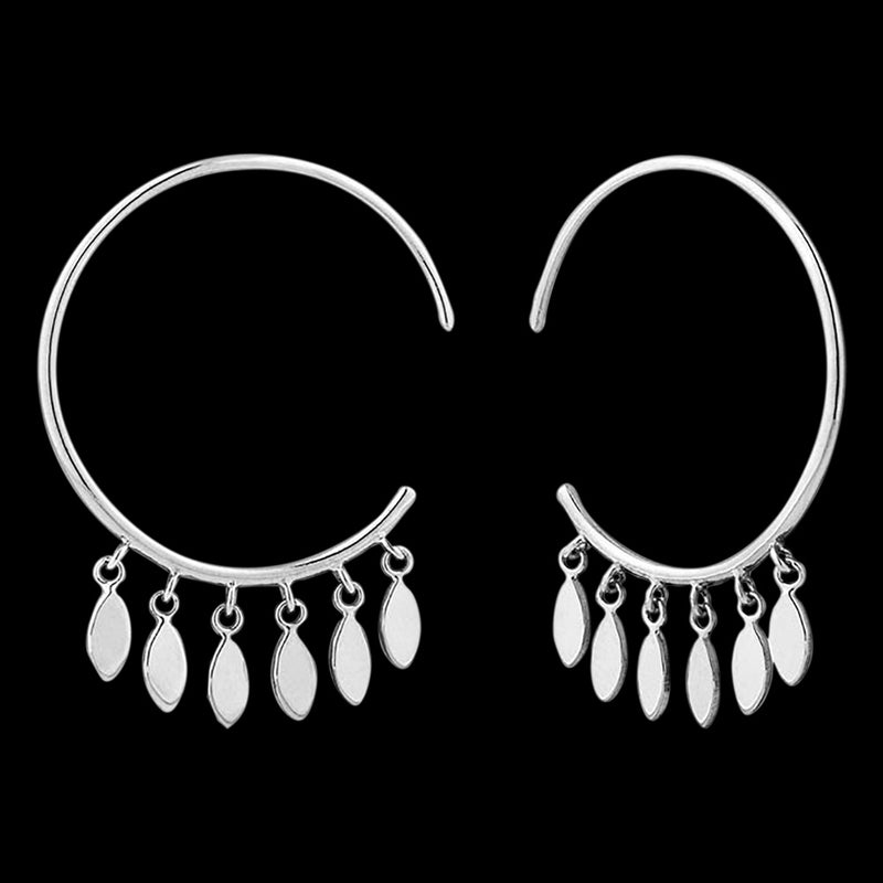 ANIA HAIE ALL EARS SILVER MULTI-DROP HOOP EARRINGS