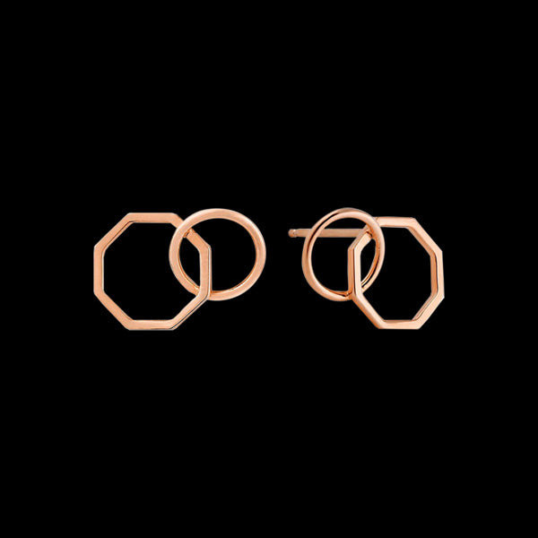 ANIA HAIE ALL EARS ROSE GOLD TWO SHAPE STUD EARRINGS