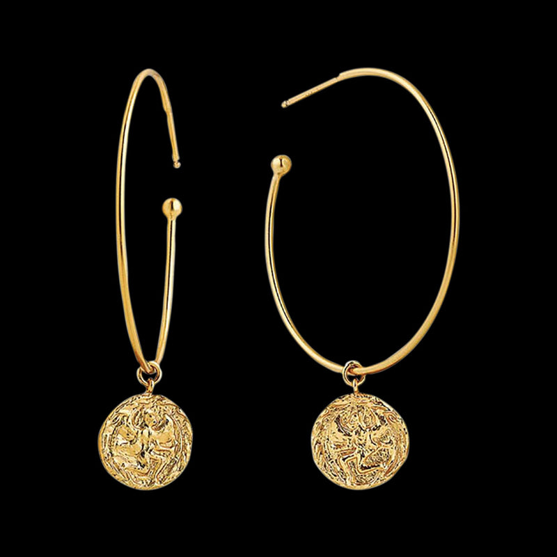 ANIA HAIE COINS GOLD BOREAS HOOP EARRINGS