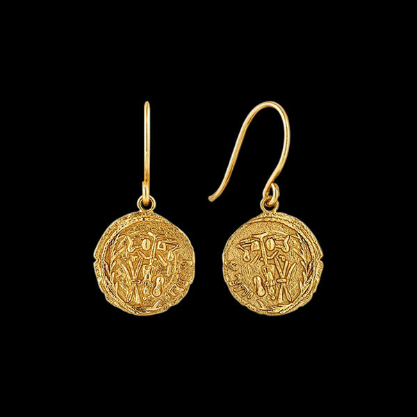 ANIA HAIE COINS GOLD EMBLEM HOOK EARRINGS