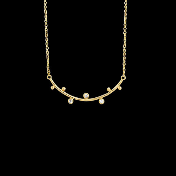 ANIA HAIE TOUCH OF SPARKLE GOLD SHIMMER SOLID BAR STUD 43-48CM NECKLACE