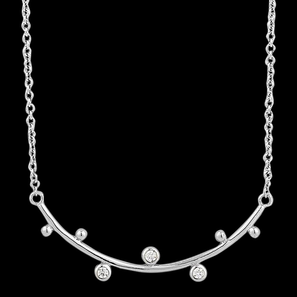 ANIA HAIE TOUCH OF SPARKLE SILVER SHIMMER SOLID BAR STUD 43-48cm NECKLACE