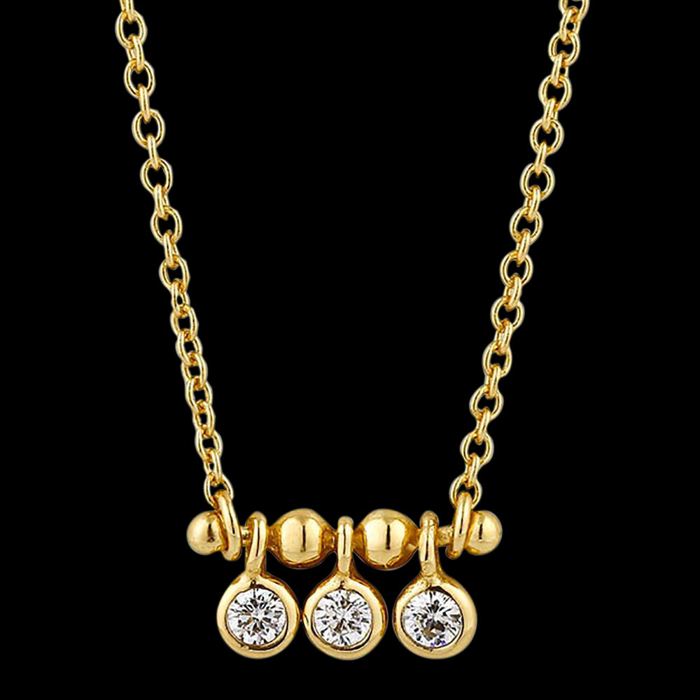 ANIA HAIE TOUCH OF SPARKLE GOLD SHIMMER TRIPLE STUD 40-45CM NECKLACE
