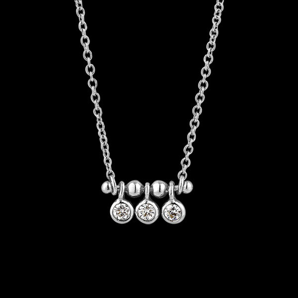 ANIA HAIE TOUCH OF SPARKLE SILVER SHIMMER TRIPLE STUD 40-45CM NECKLACE