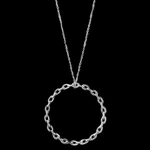 ANIA HAIE LINKS SILVER CHAIN CIRCLE PENDANT 71-76CM NECKLACE