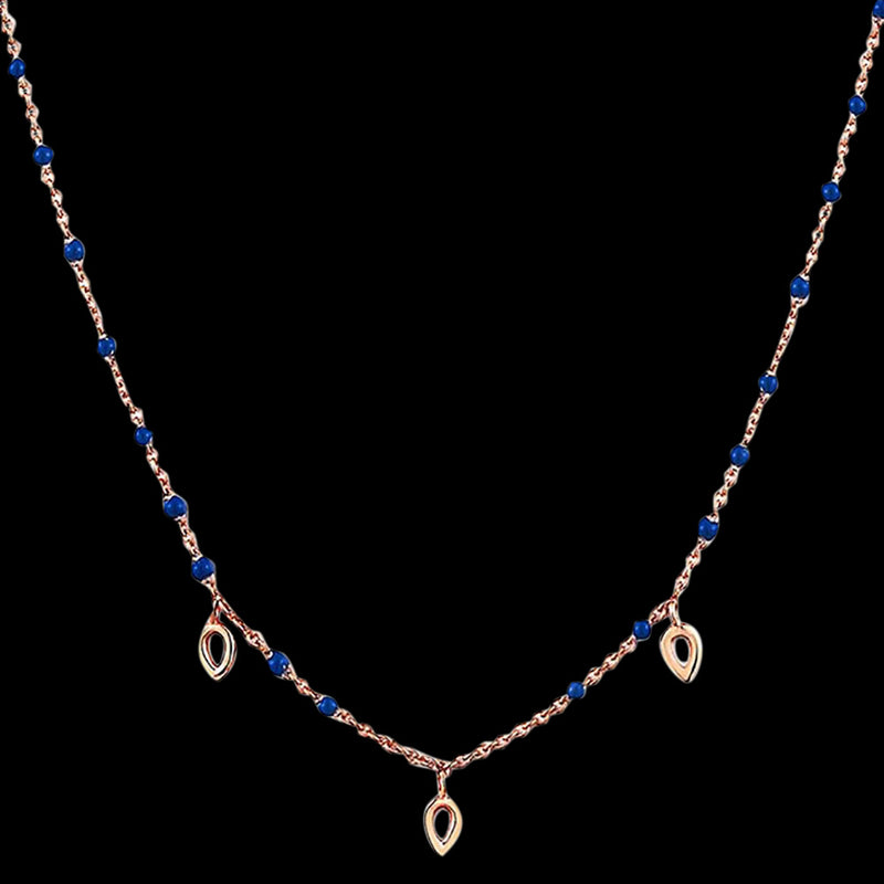 ANIA HAIE CONNECT THE DOTS ROSE GOLD DOTTED TRIPLE RAINDROP 40-45CM NECKLACE