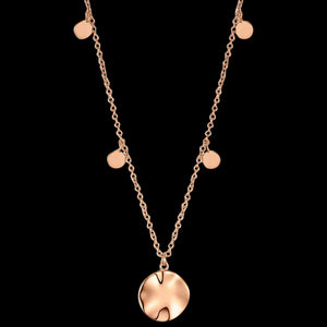ANIA HAIE TEXTURE MIX ROSE GOLD RIPPLE DROP DISCS 45-50CM NECKLACE