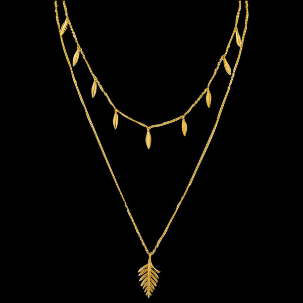 ANIA HAIE TROPIC THUNDER GOLD DOUBLE PALM 43-48CM NECKLACE