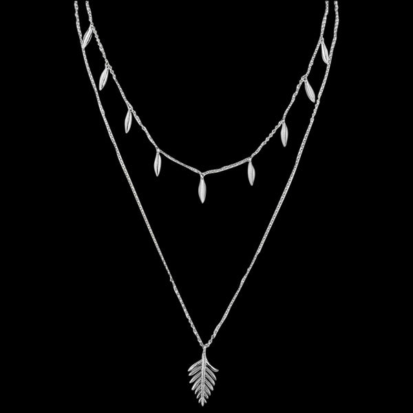 ANIA HAIE TROPIC THUNDER SILVER DOUBLE PALM 43-48CM NECKLACE