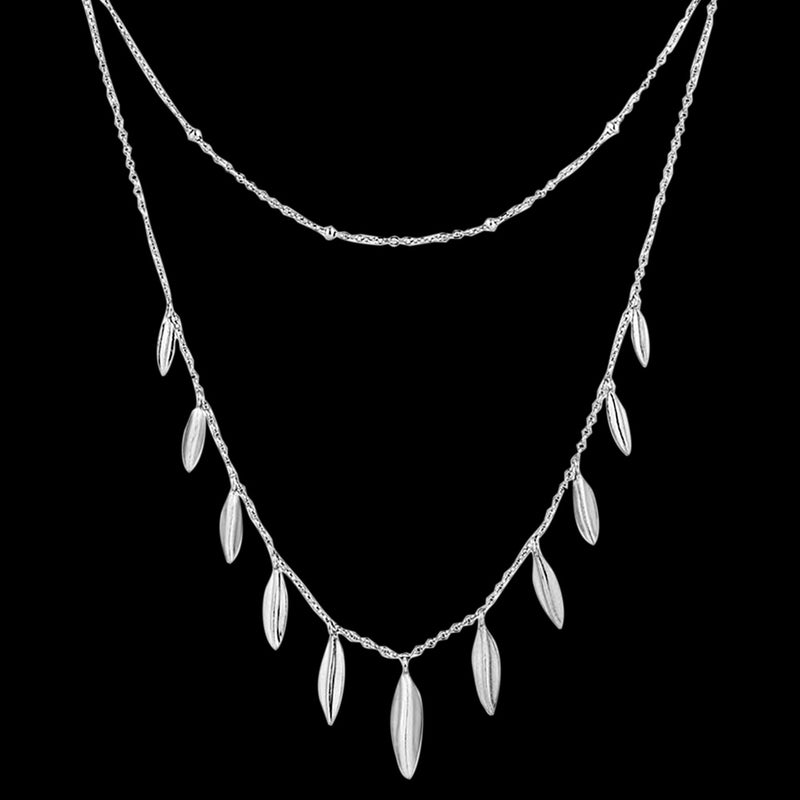 ANIA HAIE TROPIC THUNDER SILVER LEAF DOUBLE 40-45CM NECKLACE
