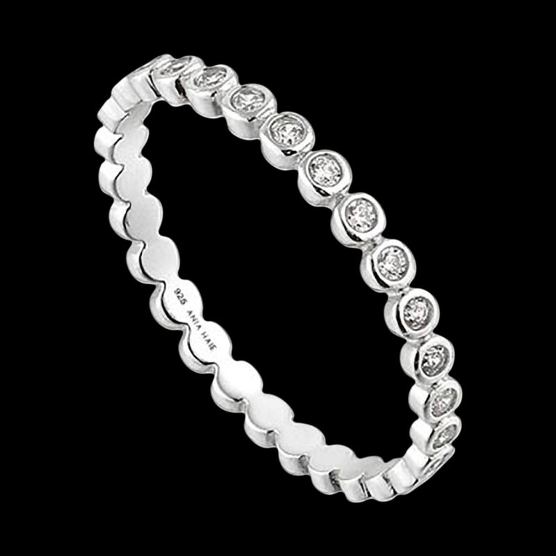 ANIA HAIE TOUCH OF SPARKLE SILVER SHIMMER HALF ETERNITY RING