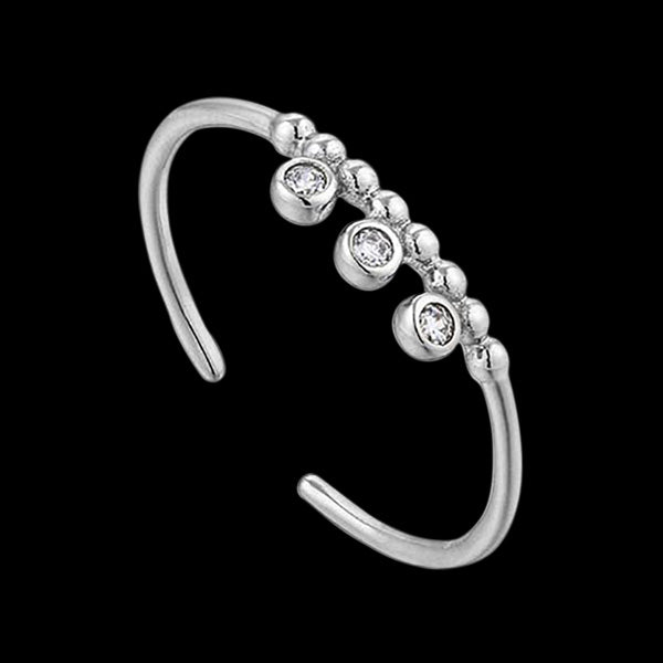 ANIA HAIE TOUCH OF SPARKLE SILVER SHIMMER TRIPLE STUD ADJUSTABLE RING