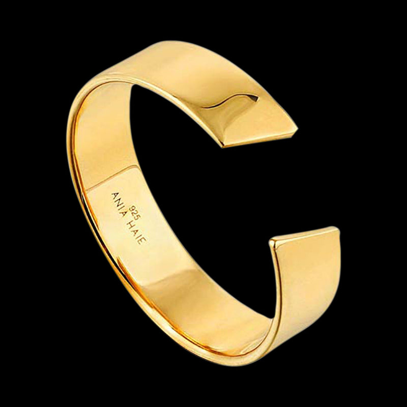 ANIA HAIE GEOMETRY CLASS GOLD WIDE ADJUSTABLE RING