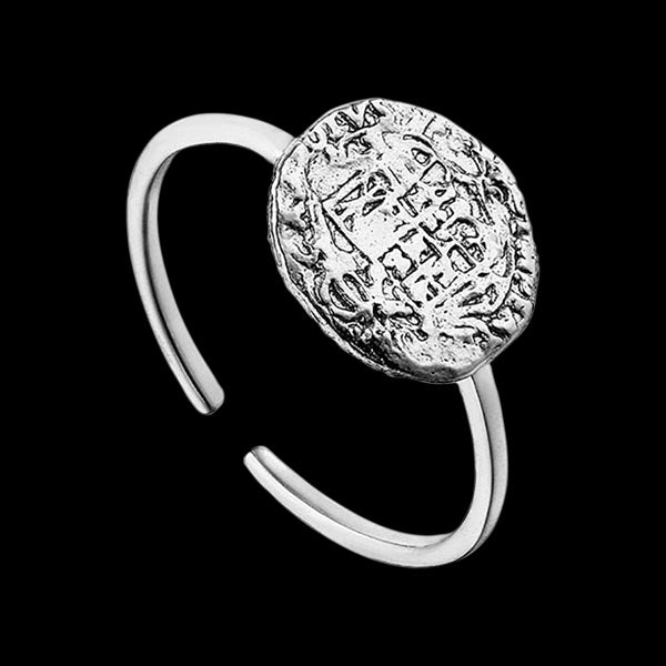 ANIA HAIE COINS SILVER EMBLEM ADJUSTABLE RING