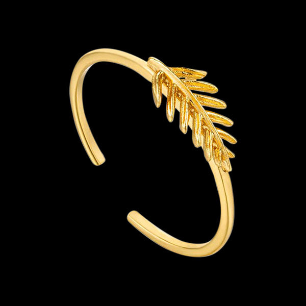ANIA HAIE TROPIC THUNDER GOLD SMALL PALM ADJUSTABLE RING