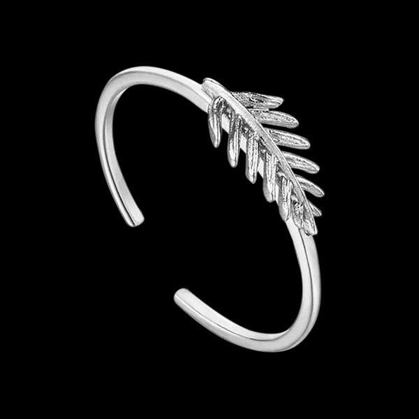 ANIA HAIE TROPIC THUNDER SILVER SMALL PALM ADJUSTABLE RING