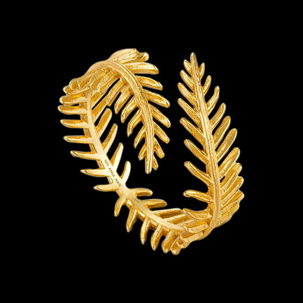 ANIA HAIE TROPIC THUNDER GOLD PALM LEAF ADJUSTABLE RING