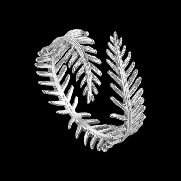 ANIA HAIE TROPIC THUNDER SILVER PALM LEAF ADJUSTABLE RING
