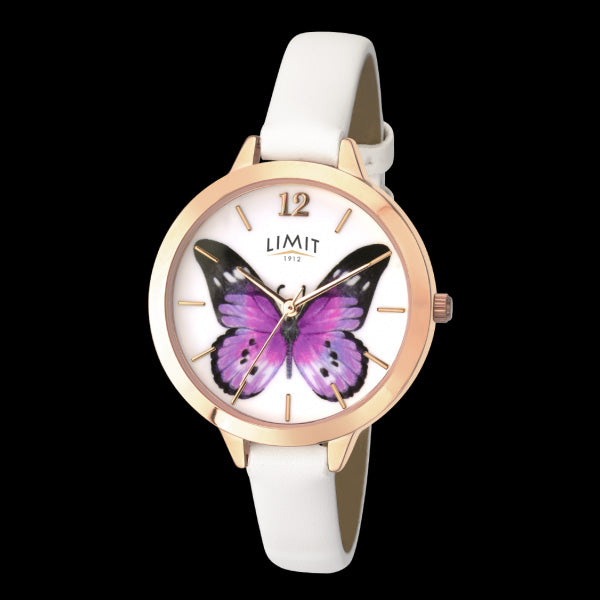 LIMIT SECRET GARDEN PURPLE BUTTERFLY ROSE GOLD WHITE LEATHER WATCH