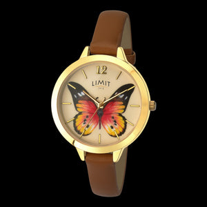 LIMIT SECRET GARDEN PAINTED LADY BUTTERFLY GOLD BROWN LEATHER WATCH