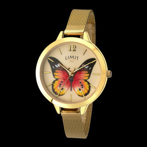 LIMIT SECRET GARDEN PAINTED LADY BUTTERFLY GOLD MESH WATCH