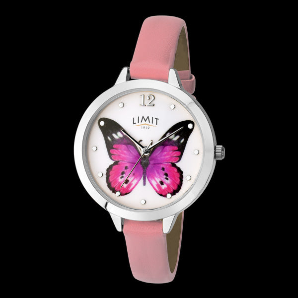 LIMIT SECRET GARDEN PINK BUTTERFLY SILVER PINK LEATHER WATCH