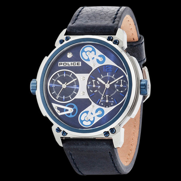 POLICE MEN'S STEAMPUNK BLUE LEATHER WATCH