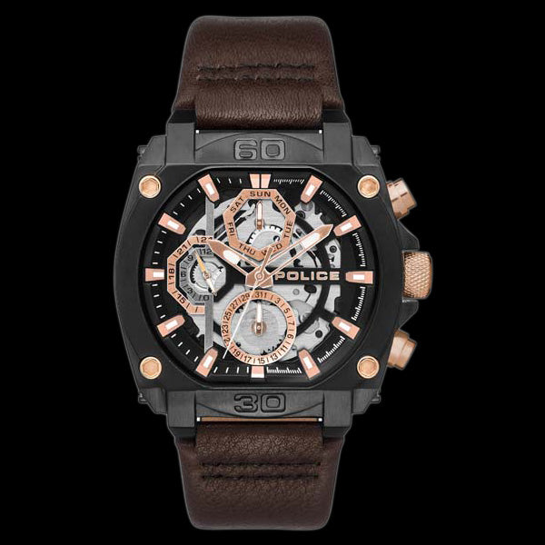 POLICE NORWOOD BLACK & ROSE GOLD BROWN LEATHER WATCH