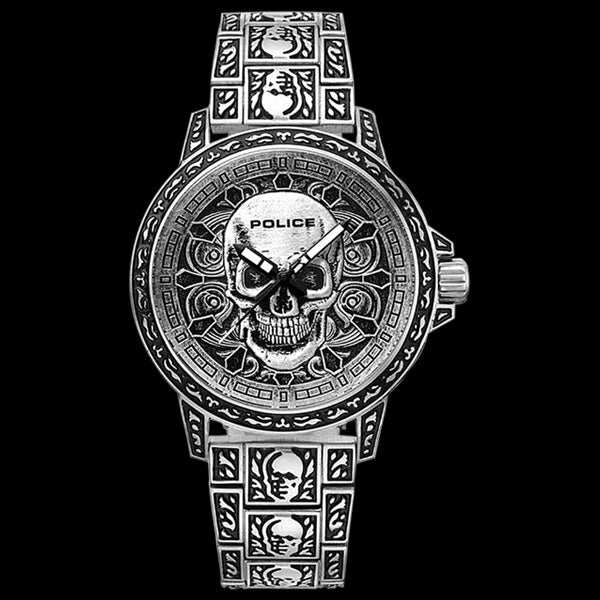 POLICE ANTIQUE SILVER SKULL WATCH