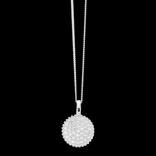 ELLANI STERLING SILVER CZ PAVE CROWN CIRCLE NECKLACE