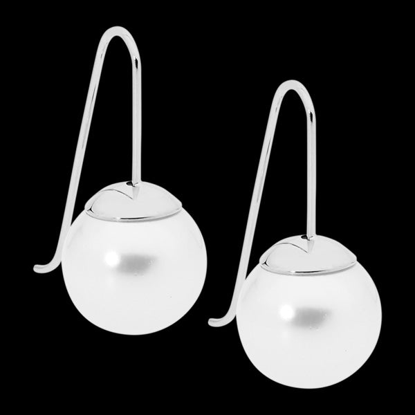 ELLANI STAINLESS STEEL DROP PEARL HOOK EARRINGS