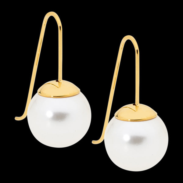 ELLANI STAINLESS STEEL GOLD IP DROP PEARL HOOK EARRINGS
