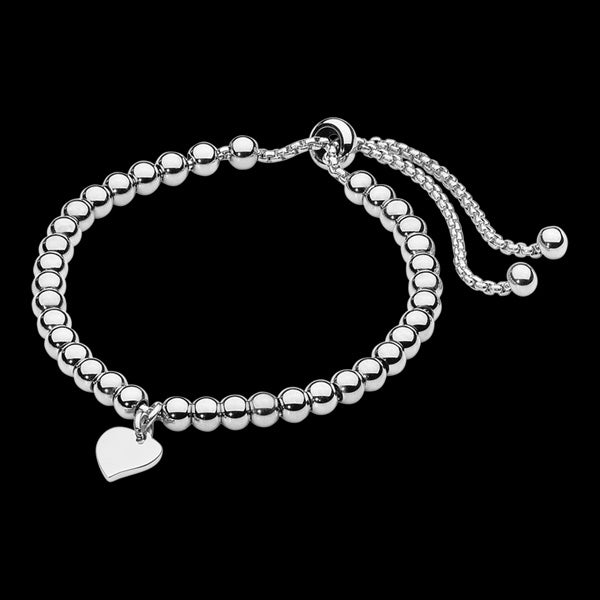 ELLANI STAINLESS STEEL HEART BALL BEAD DRAWSTRING BRACELET