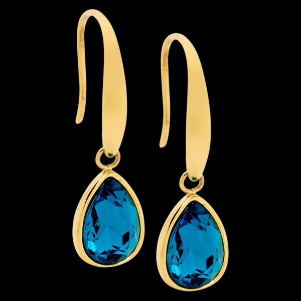 ELLANI STAINLESS STEEL GOLD IP DEEP BLUE GLASS TEARDROP DANGLE HOOK EARRINGS