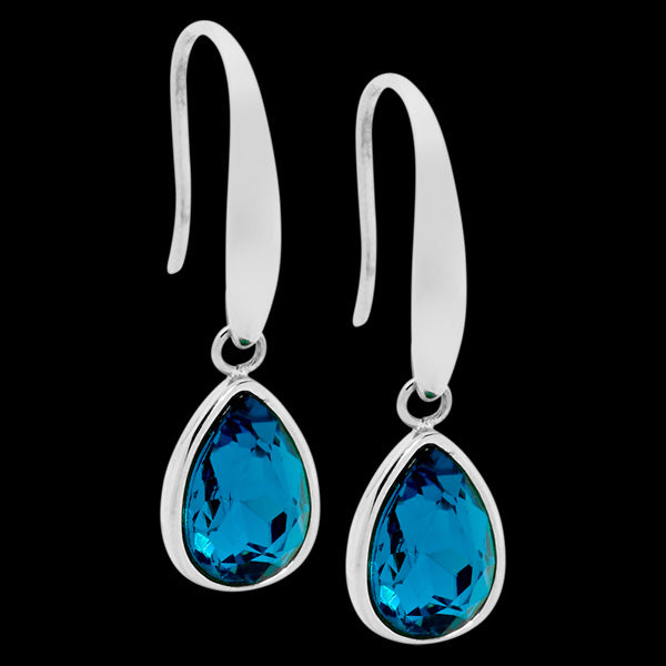 ELLANI STAINLESS STEEL DEEP BLUE GLASS TEARDROP DANGLE HOOK EARRINGS