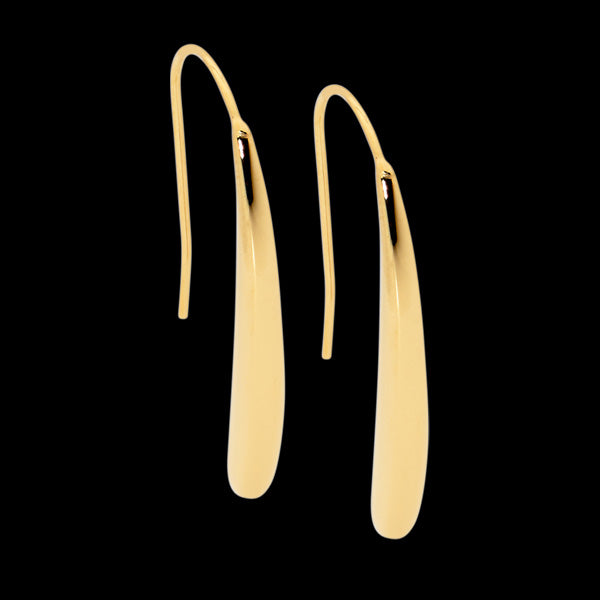 ELLANI STAINLESS STEEL GOLD IP 34MM LONG TEARDROP EARRINGS