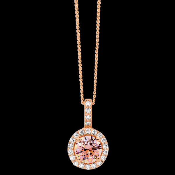 ELLANI STERLING SILVER ROSE GOLD MORGANITE CZ SOLITAIRE SURROUND DROP NECKLACE