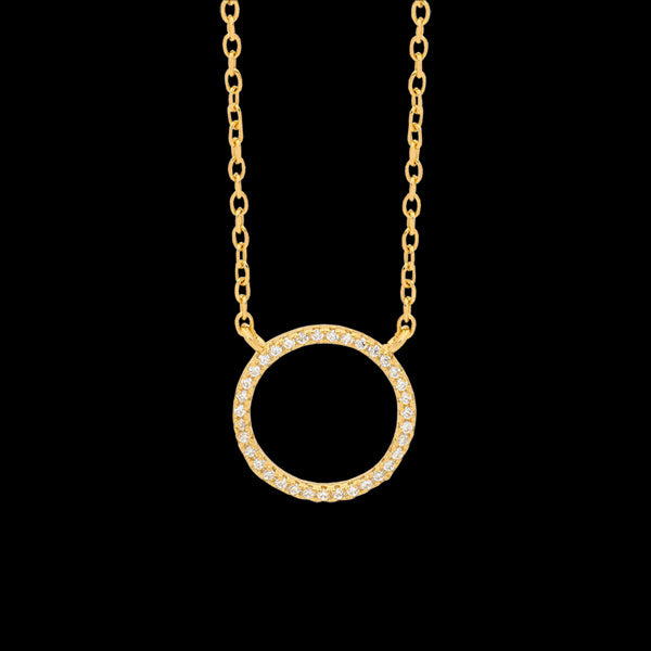 ELLANI STERLING SILVER GOLD 10MM OPEN CIRCLE PAVE CZ NECKLACE