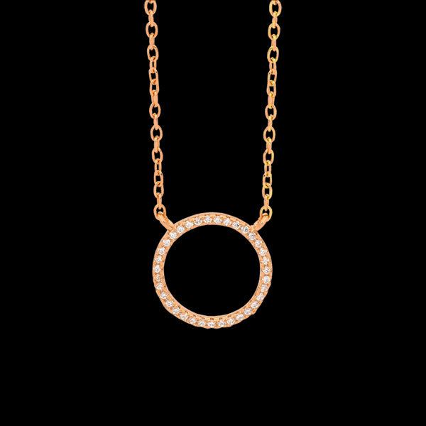 ELLANI STERLING SILVER ROSE GOLD 10MM OPEN CIRCLE PAVE CZ NECKLACE