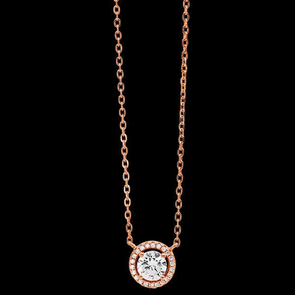 ELLANI STERLING SILVER ROSE GOLD 6MM SOLITAIRE HALO NECKLACE