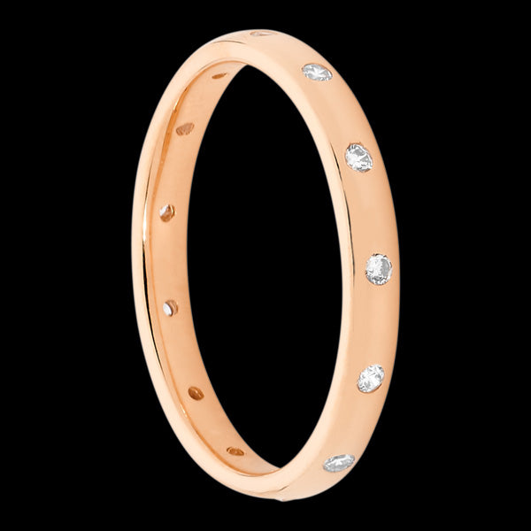 ELLANI STERLING SILVER ROSE GOLD HAMMER SET ETERNITY BAND RING
