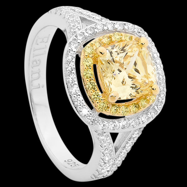 ELLANI STERLING SILVER GOLD IP YELLOW CZ DOUBLE HALO CUSHION SPLIT BAND RING