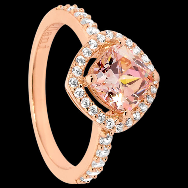 ELLANI STERLING SILVER ROSE GOLD MORGANITE CZ ANGLE CUSHION RING