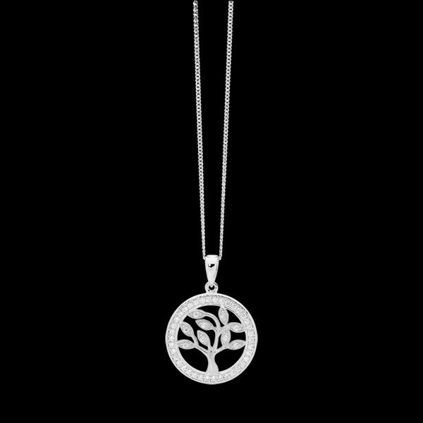 ELLANI STERLING SILVER CZ SURROUND SMALL TREE OF LIFE NECKLACE